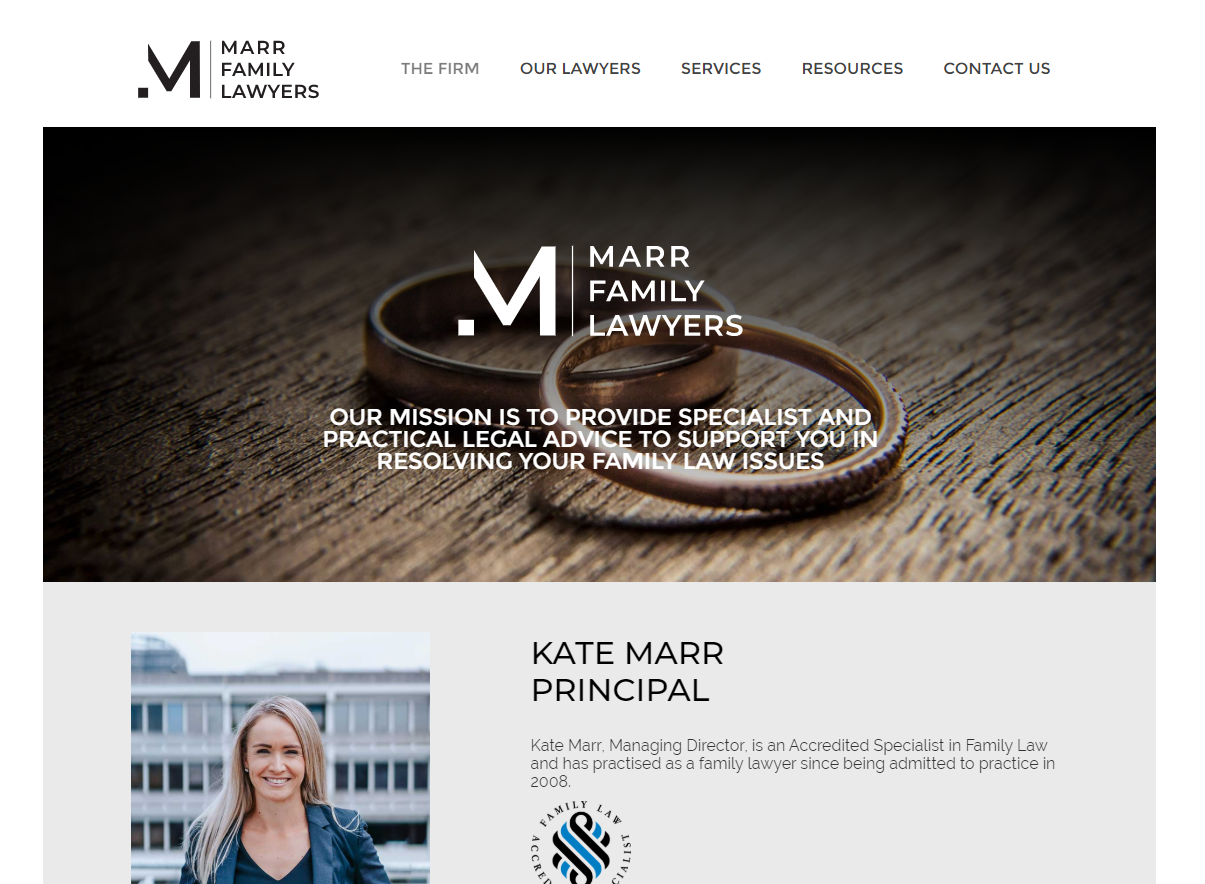 Marr Family Lawyers website