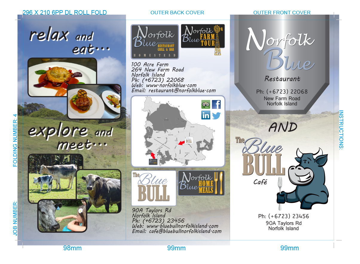 The Blue Bull and Norfolk Blue Trifold A4 to DL brochure